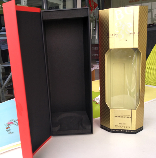 Bottle Gift wine Box	 with Flocking, foam, plastic try,blister,EVA as insert supports