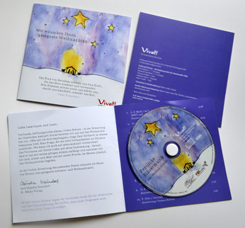 christmas greeting card with CD which cd on eva foam hub on 350g art paper cardboard with bopp bag packaging