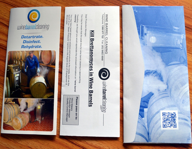 Printed mailing envelope with brochure and price list advertising promotional printing and packing