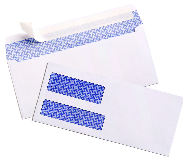 Top Quality 80g 100g 120g Peel&seal and slobber glue self-adhesive with printing Security tinted double window envelope Factory