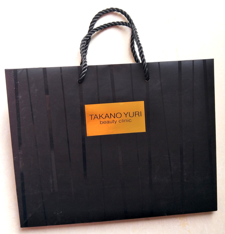 """180g black Kraft Paper material paper bag with logo bronzing with 16"""" matching cotton rope handle"""