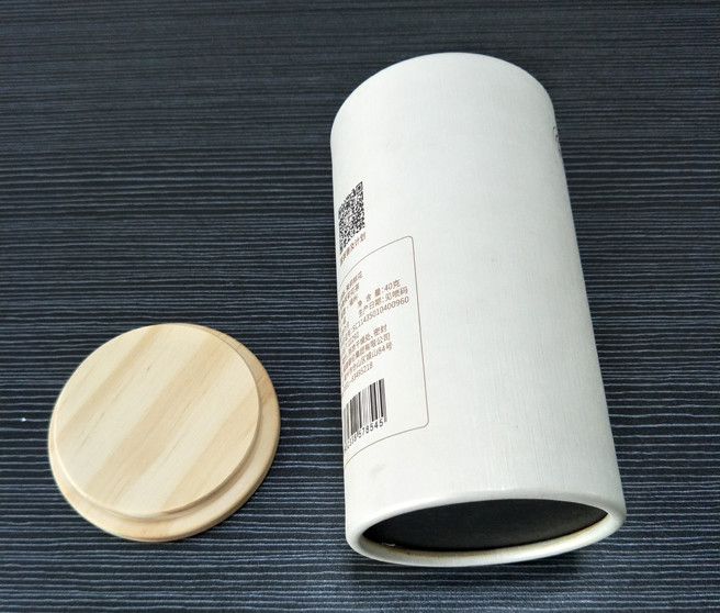 Round Paper Canner With Wood Lid For Coffee Or Tea