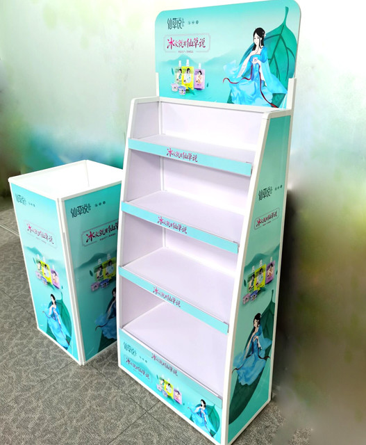 printed plastic Floor Display stand with container design