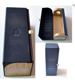 A special design wood with cardboard with logo foil/stamp design wine box