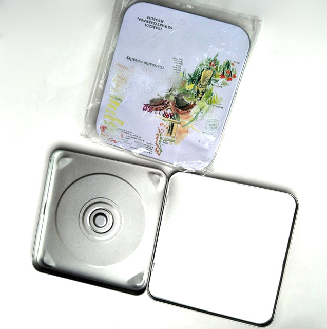 CD tin box with color printing and cd holder