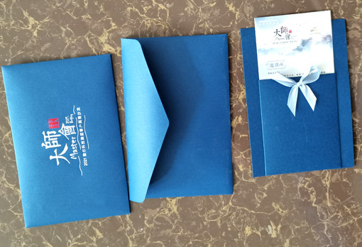 Special deisng inviting letter include blue color V stytle color printing envelope inviting card and card wallet holder