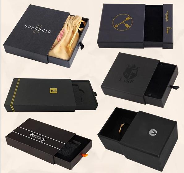 Top Quality OEM custom logo gold foil color printed ribbon pull sliding rigid drawer boxes Wholesale-TURNKEY