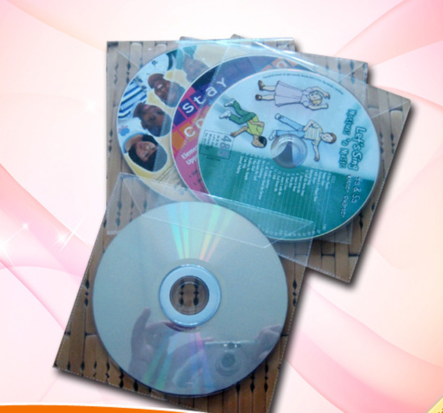 cd dvd disc in plastic sleeve packaging